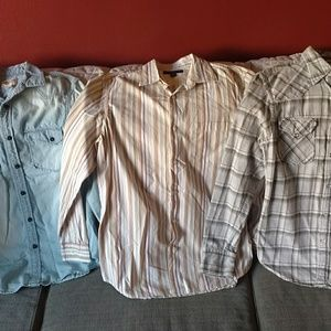 3 men's long sleeved button down shirts sz S guess